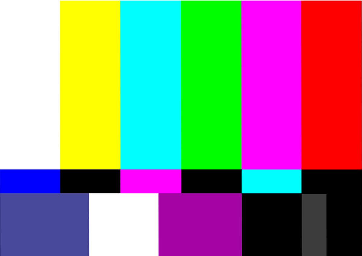 Sendepause, Bildschirm mit farbigen Streifen